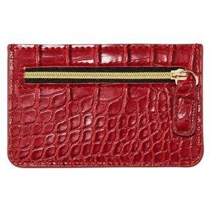 🌸 RED CROC CARD CASE WALLET